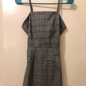 Knotted Back Checked Cami Dress- Blue Gray S
